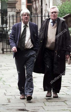Willie Rushton Memorial Service At St.pauls' Covent Garden: Paul Foot (died 7/04) (l) & Richard Ingrams (british Journalist A Co-founder And Second Editor Of The British Satirical Magazine Private Eye )