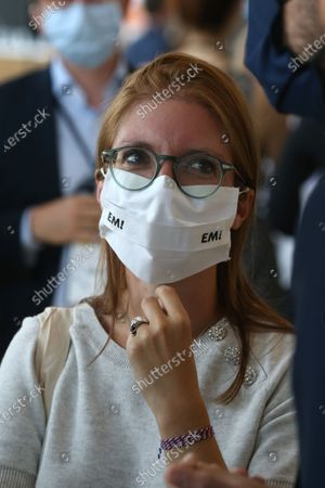 Stock Image of French La Republique En Marche (LREM) party Member of Parliament Aurore Berge with her mask during a political meeting of the presidential party LREM on September 11, 2020, in Amiens, northern France