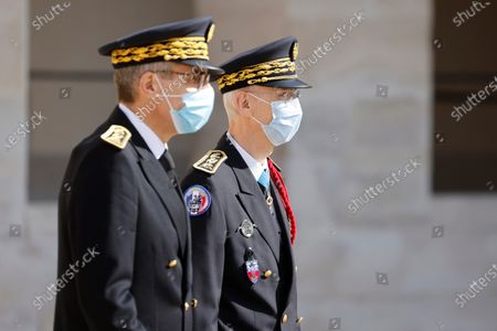 Paris police prefect Didier Lallement  (R) and Ile-de-France prefect Marc Guillaume attend an honorary funeral ceremony for Edgard Tupet-Thome, a French World War II veteran and resistant and 'Compagnon de la Liberation', at the Hotel des Invalides in Paris, France, 17 September 2020. Edgard Tupet-Thome has died at age 100 on 09 September 2020.