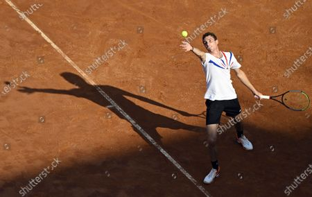 Ugo Humbert of France in action during his second round match against Fabio Fognini of Italy at the Italian Open in Rome, Italy, 17 September 2020.