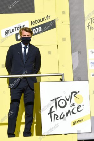 Francois Baroin at the end of stage 12 of Tour de France cycling race, over 218 kilometers (135.4 miles) with start in Chauvigny and finish in SarranUAE Team Emirates