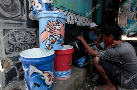 Editorial photo of A place to wash hands using plastic, Padabeunghar Village, Bogor, West Java, Indonesia - 17 Sep 2020