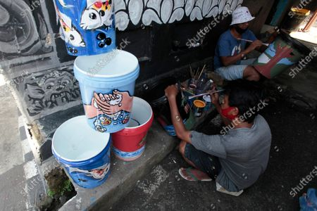 Editorial picture of A place to wash hands using plastic, Padabeunghar Village, Bogor, West Java, Indonesia - 17 Sep 2020