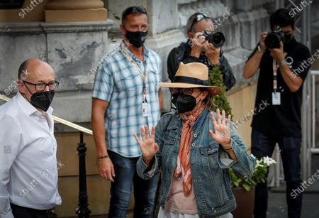 Gina Gershon (R) greets at Film Festival director Jose Luis Rebordinos (L) at her arrival to Maria Cristina Hotel on the ocassion of the International Film Festival of San Sebastian, Basque Country, Spain on 17 September 2020. The festival runs from 18 to 26 September.