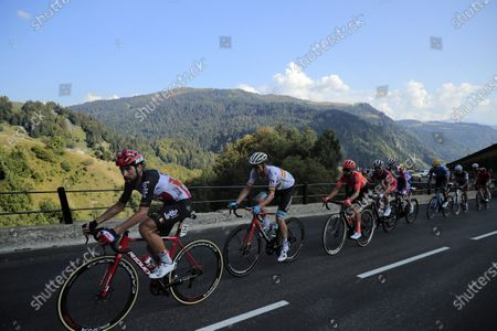 Belgian rider Thomas De Gendt (L) of Lotto Soudal team and Spanish rider Luis Leon Sanchez (2-L) of Astana Pro Team in action during the 18th stage of the Tour de France cycling race over 175km from Meribel to La-Roche-sur-Foron, France, 17 September 2020.