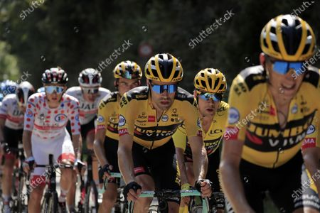 Dutch rider Tom Dumoulin (C) of Team Jumbo-Visma in action during the 18th stage of the Tour de France cycling race over 175km from Meribel to La-Roche-sur-Foron, France, 17 September 2020.