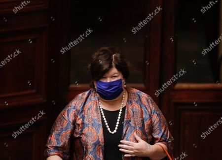 Belgium's Minister of Health, Social Affairs, Asylum Policy and Migration Maggie De Block attends a plenary session at the federal parliament, in Brussels, Belgium, 17 September 2020.