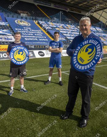 Kilmarnock community trust sponsor the Kilmarnock FC Academy. Head of academy Paul Mcdonald with trust boss Jim Thomson and player Harry Broun