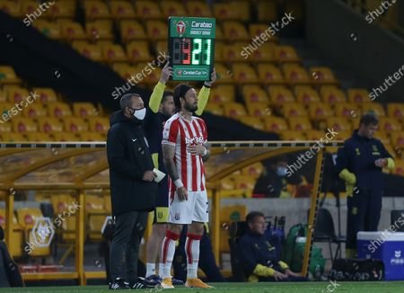 The substitute board indicates a change with Stoke City's Stephen Fletcher entering the field of play