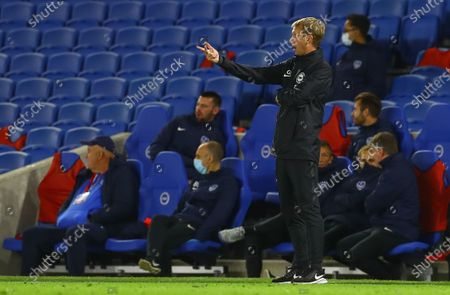 Graham Potter manager of Brighton and Hove Albion gestures on the touchline