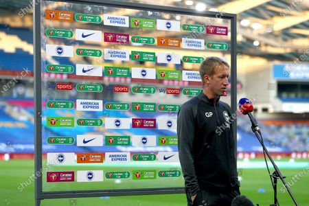 Graham Potter manager of Brighton is interviewed before kick off