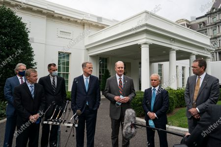 Left to right: Delta CEO Ed Bastian, United CEO Scott Kirby, Hawaiian President and CEO Peter Ingram, American Airlines chairman and CEO Doug Parker, Southwest Airlines Chairman and CEO Gary Kelly, Airlines For America President and CEO Nicholas Calio, and Alaska President and CEO Brad Tilden, speak with reporters outside the White House on September 17th, 2020 in Washington, D.C. The executives just finished a meeting with White House Chief of Staff Mark Meadows during which they discussed an extension of COVID-19 relief benefits to the major airlines.