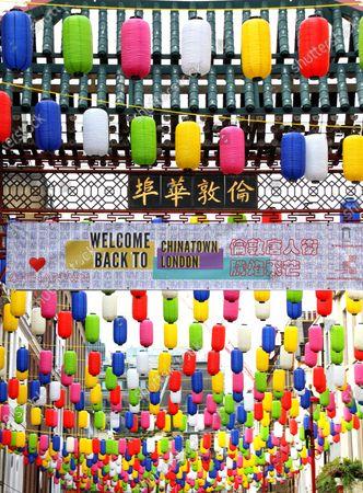 New rainbow lanterns in Chinatown, London
