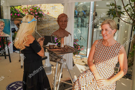 Editorial image of Sophie, Countess of Wessex, sculpture sitting, London, UK - 16 Sep 2020