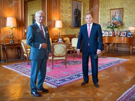 King Carl Gustaf meeting with Prime Minister Stefan Lofven, Royal Palace, Stockholm