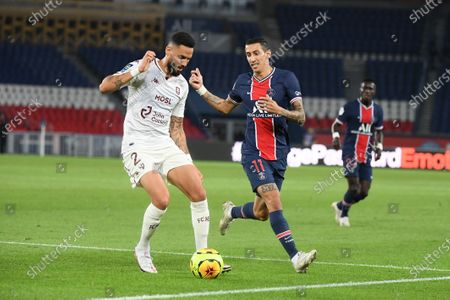 Angel Di Maria and Dylan Bronn during the first league match between PSG and Metz at the Parc des Princes