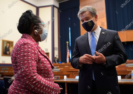 Stock Picture of United States Representative Sheila Jackson Lee (Democrat of Texas), left, talks with FBI Director Christopher Wray after he testified to the House Committee on Homeland Security in Washington, DC on September 17, 2020.