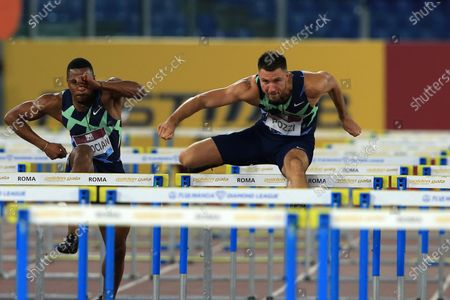 Stock Image of Andrew Pozzi (GBR) during the 110 meters hurdles men competition at the IAAF Pietro Mennea Golden Gala Diamond League Meeting at Stadio Olimpico in Rome, Italy, 17 September 2020.