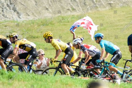 Tom DUMOULIN (NED), Primoz ROGLIC (SLO), Richie PORTE (AUS) and Miguel angel LOPEZ angel (COL) pictured in Col de la Loze, the last climb of stage 17 of Tour de France cycling race, over 170 kilometers (105.6 miles) with start in Grenoble and finish in Meribel, France,Wednesday, September 16, 2020.