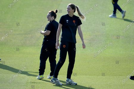 Charlotte Taylor (left) and Lauren Bell of Southern Vipers during their warm up