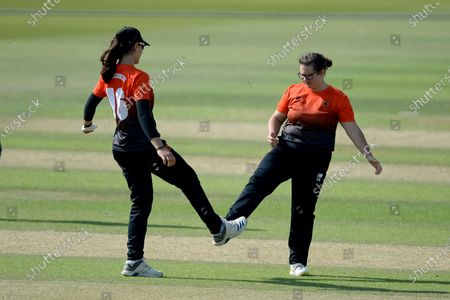Maia Bouchier (left) and Charlotte Taylor of Southern Vipers celebrates the wicket of Aylish Cranstone