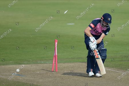 John Simpson of Middlesex is bowled by /h40