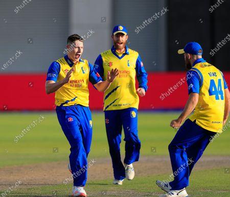 Matthew Potts (35) of Durham celebrates taking the wicket of Rob Jones (12) of Lancashire Lightning