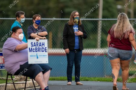 Stock Picture of Transgender activist Sarah McBride, who hopes to win a seat in the Delaware Senate, campaigns at the Claymont Boys & Girls Club in Claymont, Del