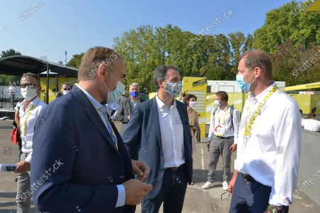 Eric Piolle mayor of Grenoblet and Christian Prudhomme director of the tour de France in the village of the Tour for the big start of the 17th stage between Grenoble and Meribel in Savoie.