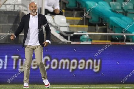 Milan's manager Stefano Pioli calls out to his players during an Europa League second qualifying round soccer match between Shamrock Rovers and AC Milan at the Tallaght Stadium in Dublin, in Dublin