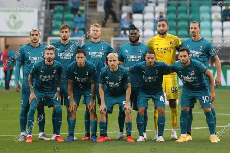 Stock Image of Milan players line up prior to the start of an Europa League second qualifying round soccer match between Shamrock Rovers and AC Milan at the Tallaght Stadium in Dublin, in Dublin