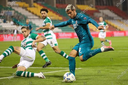 Stock Picture of Milan's Theo Hernandez controls the ball during an Europa League second qualifying round soccer match between Shamrock Rovers and AC Milan at the Tallaght Stadium in Dublin, in Dublin