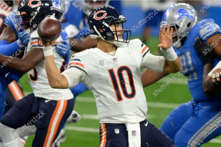 Chicago Bears quarterback Mitchell Trubisky throws a pass in the second half of an NFL football game against the Detroit Lions in Detroit. The Bears hope to win back-to-back games to start a season for the first time in seven years and deny the Giants their first victory under new coach Joe Judge when New York visits Soldier Field on Sunday