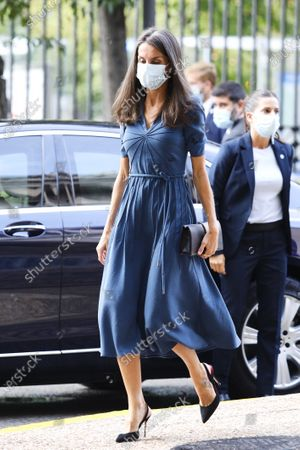 Queen Letizia attends Opening of the 'Delibes' exhibition at National Library on September 17, 2020 in Madrid, Spain