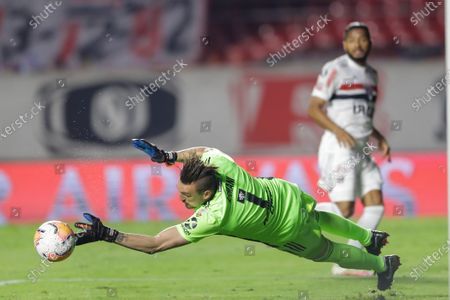Goalkeeper Franco Armani of Argentina's River Plate fails to stop during a Copa Libertadores Group D soccer match against Brazil's Sao Paulo at the Morumbi stadium in Sao Paulo, Brazil