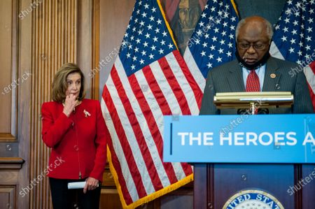 United States House Assistant Democratic Leader James Clyburn (Democrat of South Carolina), offers remarks while joined by Speaker of the United States House of Representatives Nancy Pelosi (Democrat of California) for a press conference regarding Congressional Democrats testing funds needed for COVID at the US Capitol in Washington, DC., Thursday, September 17, 2020. Credit: Rod Lamkey / CNP