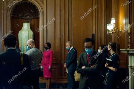 United States Senate Minority Leader Chuck Schumer (Democrat of New York) waits to offer remarks at a press conference regarding Congressional Democrats testing funds needed for COVID at the US Capitol in Washington, DC., Thursday, September 17, 2020. Credit: Rod Lamkey / CNP
