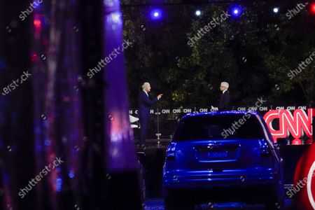 Democratic presidential candidate former Vice President Joe Biden participates in a CNN drive-in town hall moderated by Anderson Cooper in Moosic, Pa