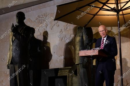 Sen. Pat Roberts, R-Kan., speaks at the dedication ceremony for the monument dedicated to Dwight D. Eisenhower, in Washington, . Designed by world-renowned architect Frank Gehry, the memorial honors Eisenhower, the young man from Abilene, Kansas who went on to West Point and became a General, a U.S. President and one of the most notable and successful leaders of the last century