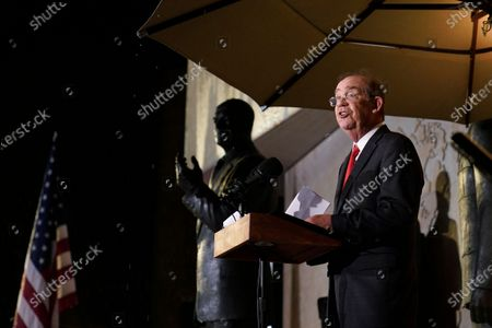 David Eisenhower, grandson of former president Dwight D. Eisenhower, speaks during the Eisenhower Memorial dedication ceremony in Washington, . Designed by world-renowned architect Frank Gehry, the memorial honors Eisenhower, the young man from Abilene, Kansas who went on to West Point and became a General, a U.S. President and one of the most notable and successful leaders of the last century
