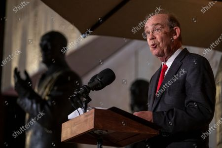 David Eisenhower, the grandson of late President Dwight D. Eisenhower, delivers remarks during the dedication ceremony for the Dwight D. Eisenhower Memorial in Washington, DC, USA, 17 September 2020. Designed by world-renowned architect Frank Gehry, the memorial encapsulates Eisenhower's legacy in a four-acre urban park at the base of Capitol Hill. The memorial features a one-of-a-kind stainless steel tapestry depicting beaches of D-Day, heroic-sized bronze sculptures, and stone bas reliefs.
