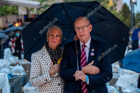 US Republican Senator from Kansas Pat Roberts (R) and his wife Franki Fann Roberts (L) look on during the dedication ceremony for the Dwight D. Eisenhower Memorial in Washington, DC, USA, 17 September 2020. Designed by world-renowned architect Frank Gehry, the memorial encapsulates Eisenhower's legacy in a four-acre urban park at the base of Capitol Hill. The memorial features a one-of-a-kind stainless steel tapestry depicting beaches of D-Day, heroic-sized bronze sculptures, and stone bas reliefs.