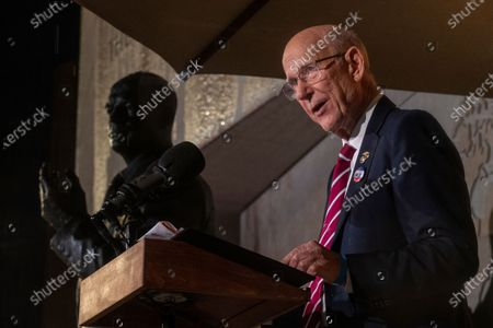 US Republican Senator from Kansas Pat Roberts delivers remark during the dedication ceremony for the Dwight D. Eisenhower Memorial in Washington, DC, USA, 17 September 2020. Designed by world-renowned architect Frank Gehry, the memorial encapsulates Eisenhower's legacy in a four-acre urban park at the base of Capitol Hill. The memorial features a one-of-a-kind stainless steel tapestry depicting beaches of D-Day, heroic-sized bronze sculptures, and stone bas reliefs.