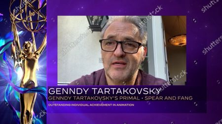 "Genndy Tartakovsky accepts the Emmy for Outstanding Individual Achievement In Animation for ""Primal"" for ""Spear And Fang"" during the fourth night of the 2020 Creative Arts Emmy Awards, streamed live on Emmys.com on"