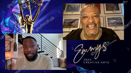 """Lamorne Morris presents the Emmy for Outstanding Actor In A Short Form Comedy Or Drama Series to Laurence Fishburne for """"#FreeRayshawn"""" during the fourth night of the 2020 Creative Arts Emmy Awards, streamed live on Emmys.com on"""
