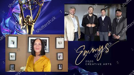 """Cheryl Burke presents the Emmy for Outstanding Innovation in Interactive Programming to Rodrigo Terra, Ricardo Justus, Edouard De Montmort and Ricardo Laganar for """"The Line"""" during the fourth night of the 2020 Creative Arts Emmy Awards, streamed live on Emmys.com on"""