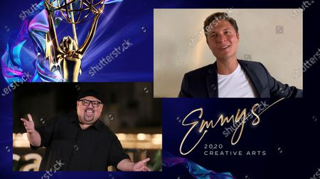 """Gabriel Iglesias presents the Emmy for Outstanding Original Interactive Program to Elijah Allan-Blitz for """"The Messy Truth VR Experience"""" during the fourth night of the 2020 Creative Arts Emmy Awards, streamed live on Emmys.com on"""