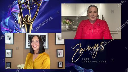 """Cheryl Burke presents the Emmy for Outstanding Choreography For Scripted Programming to Mandy Moore for """"Zoey's Extraordinary Playlist"""" during the fourth night of the 2020 Creative Arts Emmy Awards, streamed live on Emmys.com on"""