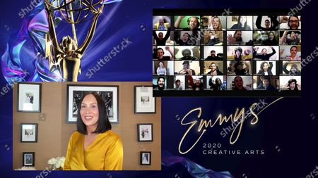 """Cheryl Burke presents the Emmy for Outstanding Innovation in Interactive Programming to the team from """"The Line"""" during the fourth night of the 2020 Creative Arts Emmy Awards, streamed live on Emmys.com on"""
