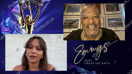 """Stock Photo of Laurence Fishburne, right, was named Outstanding Actor in a Short Form Comedy Or Drama Series and Jasmine Cephas Jones was named Outstanding Actress in a Short Form Comedy Or Drama Series for their work in """"#FreeRayshawn"""" during the fourth night of the 2020 Creative Arts Emmy Awards, streamed live on Emmys.com on"""